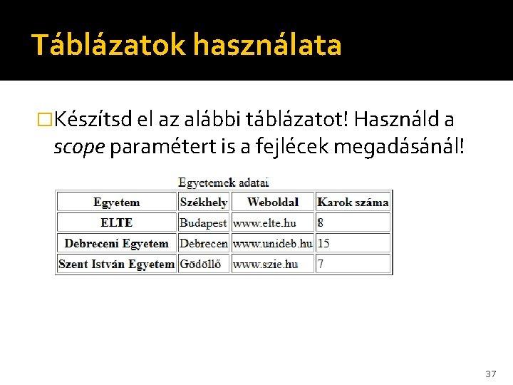 Táblázatok használata �Készítsd el az alábbi táblázatot! Használd a scope paramétert is a fejlécek