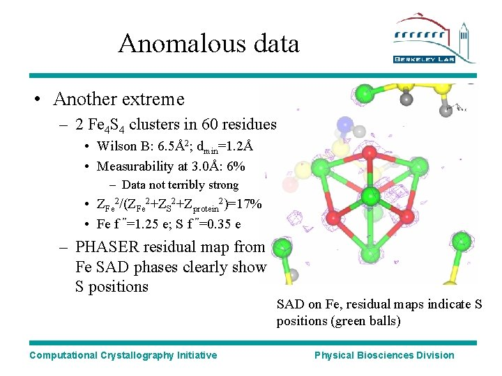 Anomalous data • Another extreme – 2 Fe 4 S 4 clusters in 60