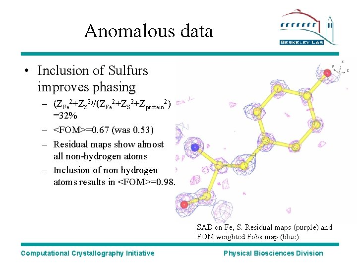 Anomalous data • Inclusion of Sulfurs improves phasing – (ZFe 2+ZS 2)/(ZFe 2+ZS 2+Zprotein