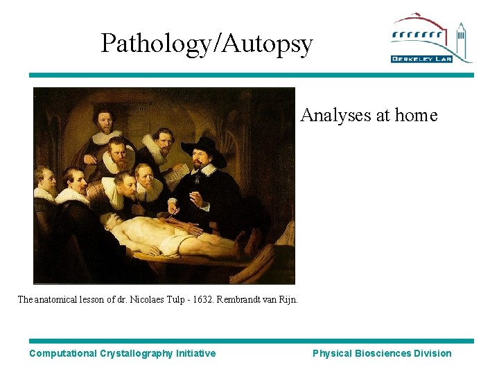 Pathology/Autopsy Analyses at home The anatomical lesson of dr. Nicolaes Tulp - 1632. Rembrandt