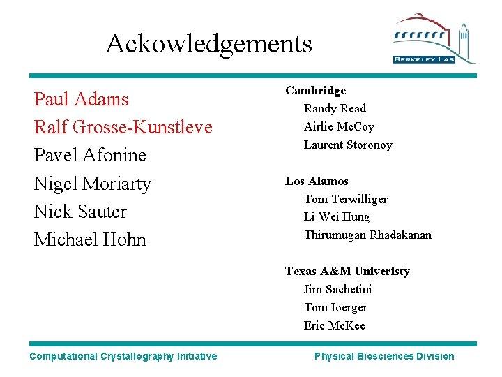Ackowledgements Paul Adams Ralf Grosse-Kunstleve Pavel Afonine Nigel Moriarty Nick Sauter Michael Hohn Cambridge