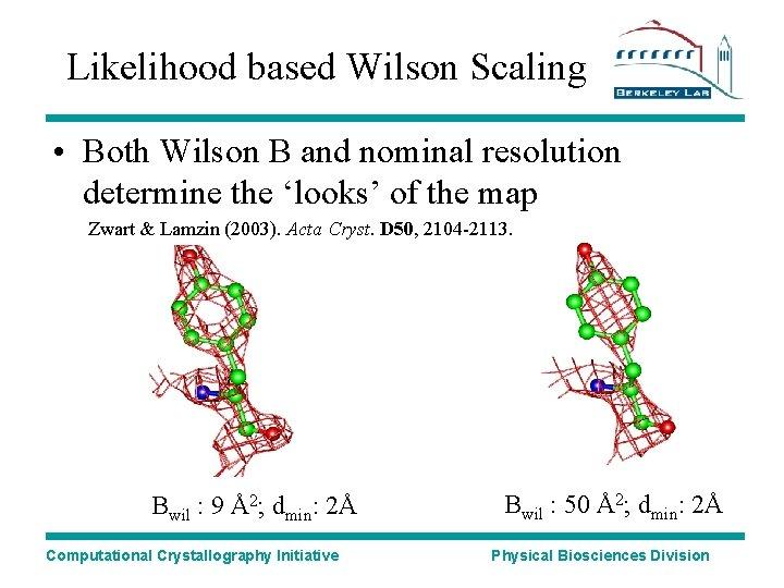 Likelihood based Wilson Scaling • Both Wilson B and nominal resolution determine the 'looks'