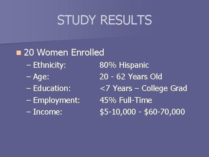 STUDY RESULTS n 20 Women Enrolled – Ethnicity: – Age: – Education: – Employment: