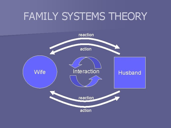 FAMILY SYSTEMS THEORY reaction Wife Interaction reaction Husband