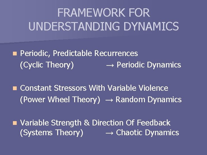 FRAMEWORK FOR UNDERSTANDING DYNAMICS n Periodic, Predictable Recurrences (Cyclic Theory) → Periodic Dynamics n