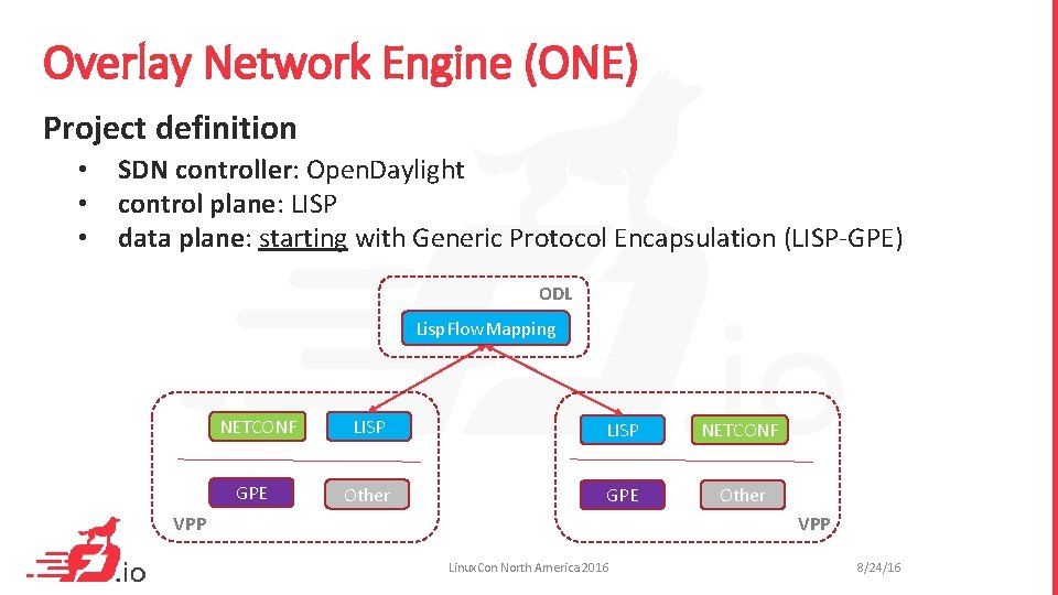 Overlay Network Engine (ONE) Project definition • • • SDN controller: Open. Daylight control