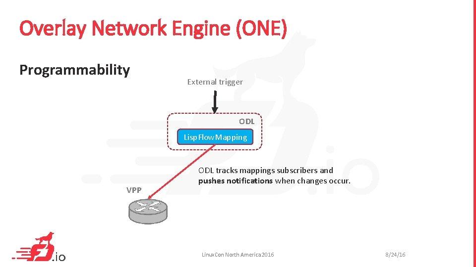 Overlay Network Engine (ONE) Programmability External trigger ODL Lisp. Flow. Mapping VPP ODL tracks