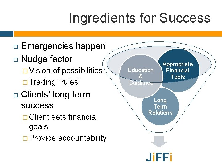 """Ingredients for Success Emergencies happen Nudge factor � Vision of possibilities � Trading """"rules"""""""