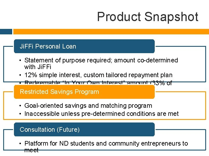 Product Snapshot Ji. FFi Personal Loan • Statement of purpose required; amount co-determined with