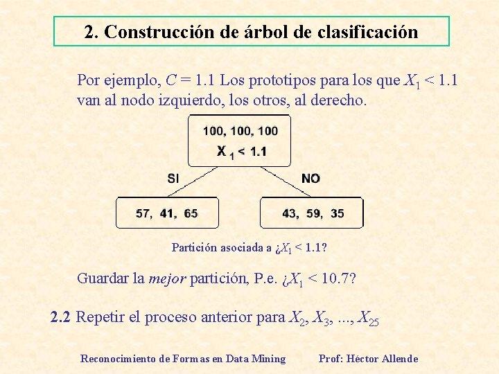2. Construcción de árbol de clasificación Por ejemplo, C = 1. 1 Los prototipos