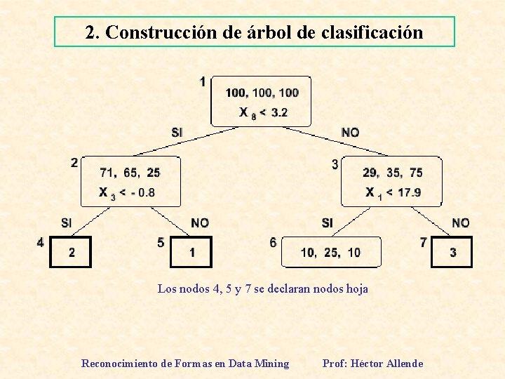 2. Construcción de árbol de clasificación Los nodos 4, 5 y 7 se declaran