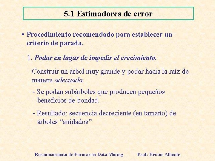 5. 1 Estimadores de error • Procedimiento recomendado para establecer un criterio de parada.