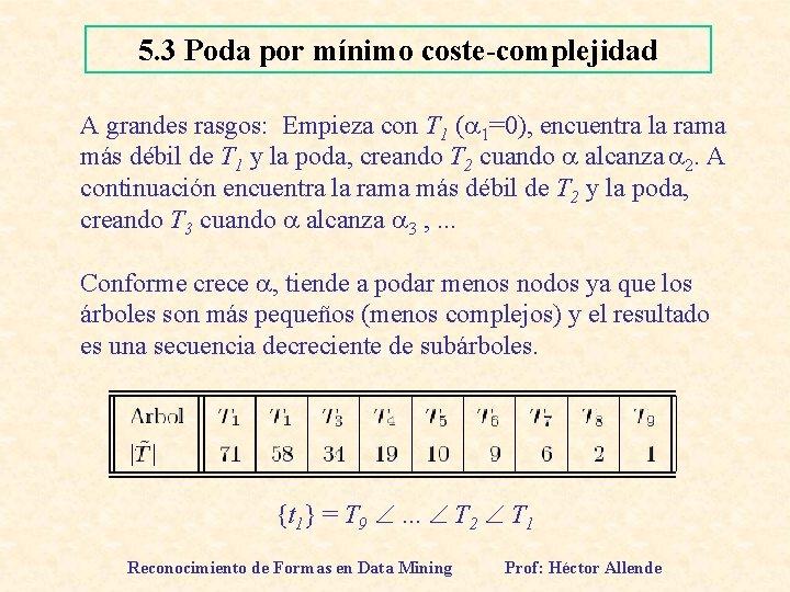 5. 3 Poda por mínimo coste-complejidad A grandes rasgos: Empieza con T 1 (