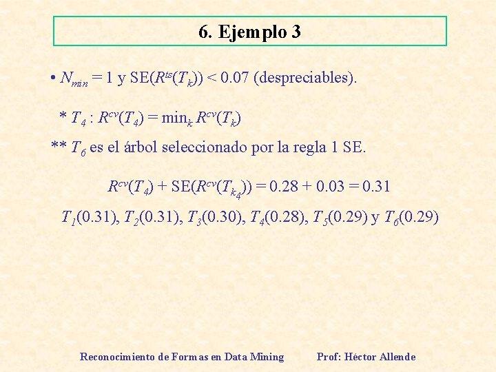6. Ejemplo 3 • Nmin = 1 y SE(Rts(Tk)) < 0. 07 (despreciables). *