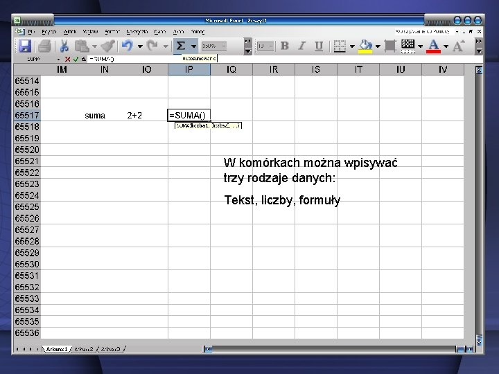 W komórkach można wpisywać trzy rodzaje danych: Tekst, liczby, formuły