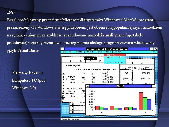 1987 Excel produkowany przez firmę Microsoft dla systemów Windows i Mac. OS. program przeznaczony