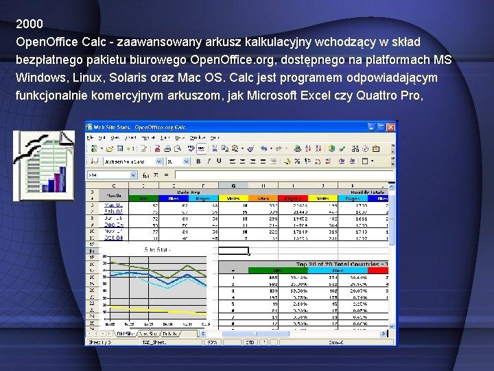 2000 Open. Office Calc - zaawansowany arkusz kalkulacyjny wchodzący w skład bezpłatnego pakietu biurowego