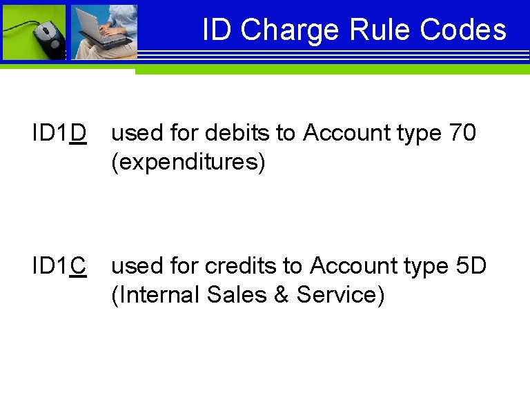 ID Charge Rule Codes ID 1 D used for debits to Account type 70
