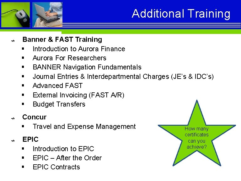 Additional Training Banner & FAST Training § Introduction to Aurora Finance § Aurora For