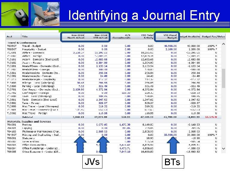 Identifying a Journal Entry JVs BTs