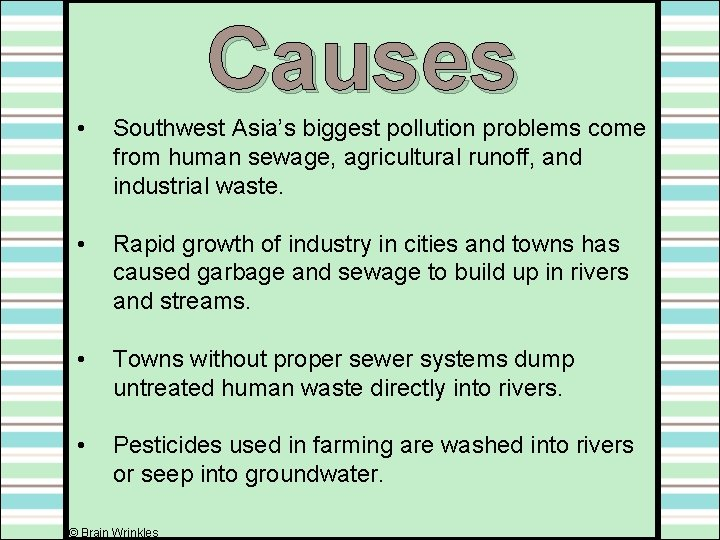 Causes • Southwest Asia's biggest pollution problems come from human sewage, agricultural runoff, and