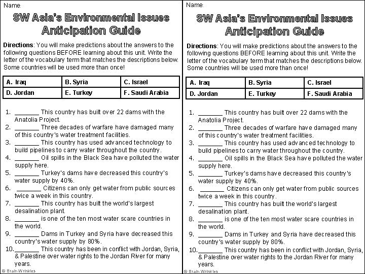 Name: SW Asia's Environmental Issues Anticipation Guide Directions: You will make predictions about the