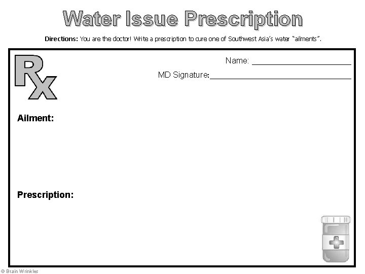 Water Issue Prescription Directions: You are the doctor! Write a prescription to cure one