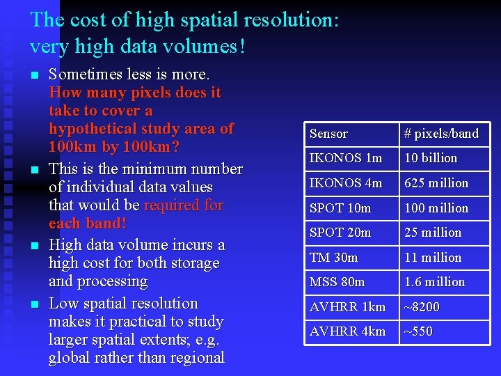 The cost of high spatial resolution: very high data volumes! n n Sometimes less