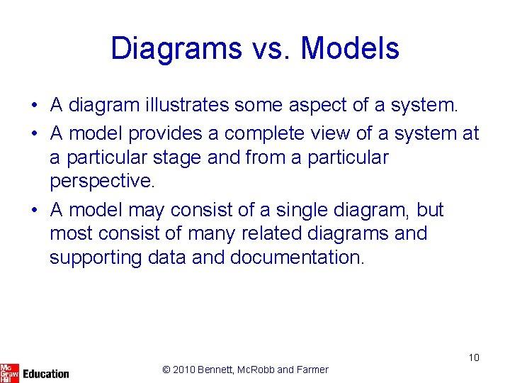 Diagrams vs. Models • A diagram illustrates some aspect of a system. • A