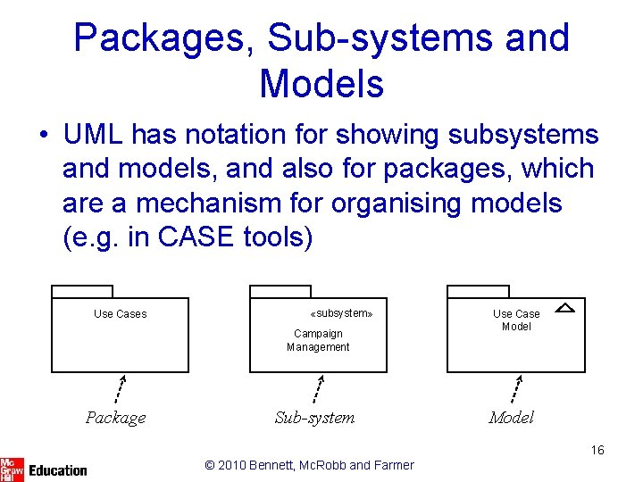 Packages, Sub-systems and Models • UML has notation for showing subsystems and models, and