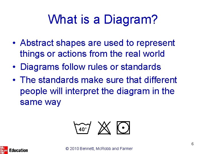 What is a Diagram? • Abstract shapes are used to represent things or actions