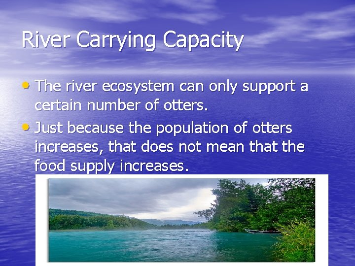 River Carrying Capacity • The river ecosystem can only support a certain number of