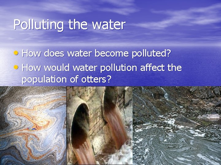 Polluting the water • How does water become polluted? • How would water pollution