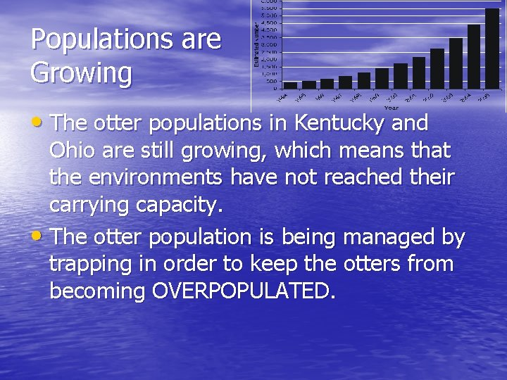 Populations are Growing • The otter populations in Kentucky and Ohio are still growing,