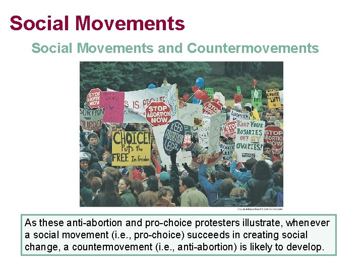 Social Movements and Countermovements As these anti-abortion and pro-choice protesters illustrate, whenever a social