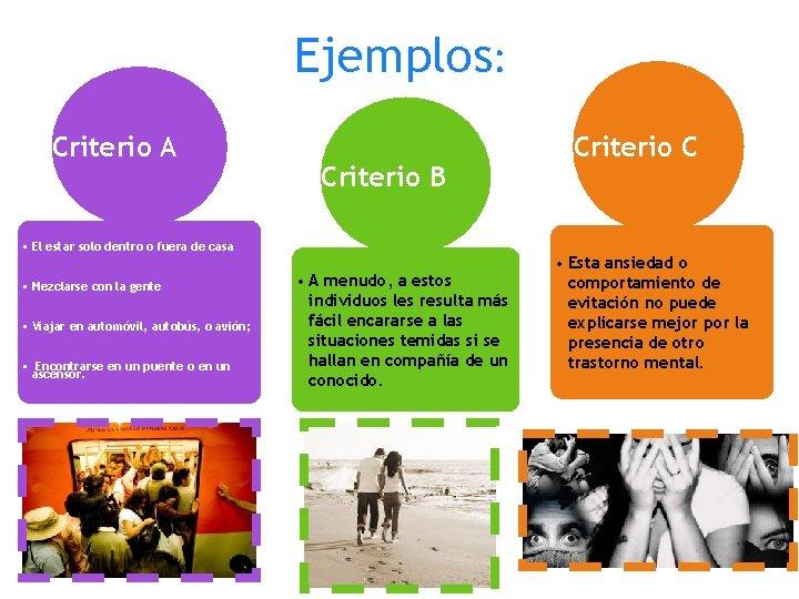 Ejemplos: Criterio A Criterio B • El estar solo dentro o fuera de casa