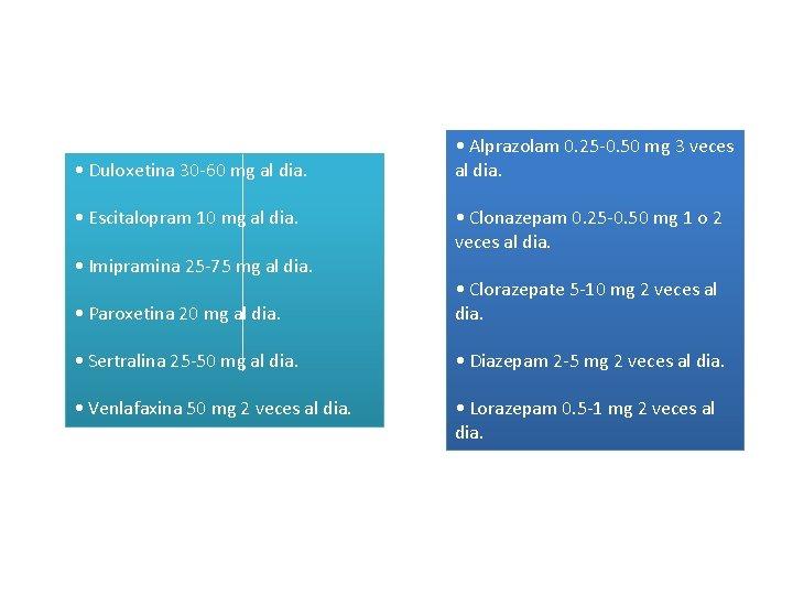 • Duloxetina 30 -60 mg al dia. • Escitalopram 10 mg al dia.