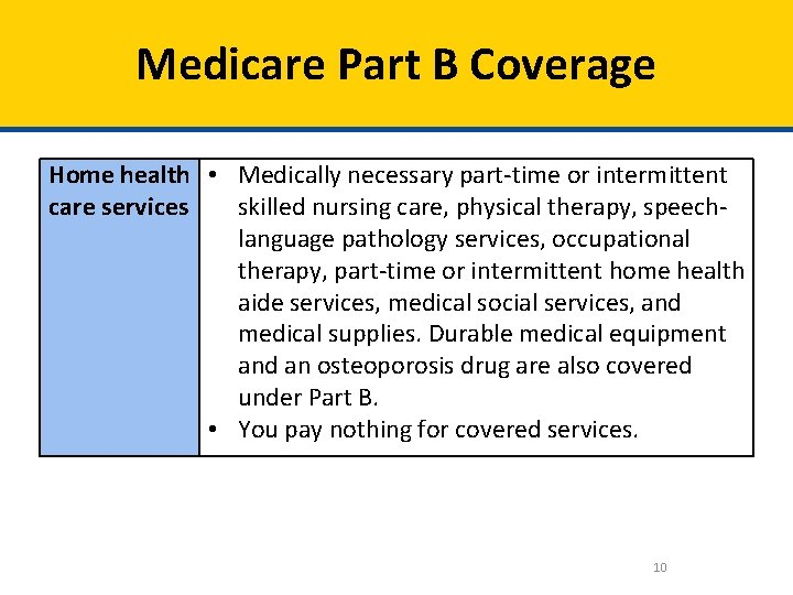 Medicare Part B Coverage Home health • Medically necessary part-time or intermittent care services