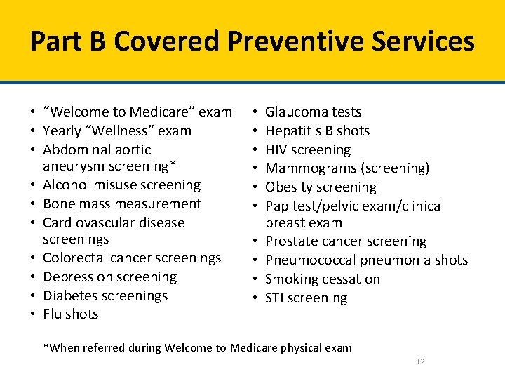 """Part B Covered Preventive Services • """"Welcome to Medicare"""" exam • Yearly """"Wellness"""" exam"""