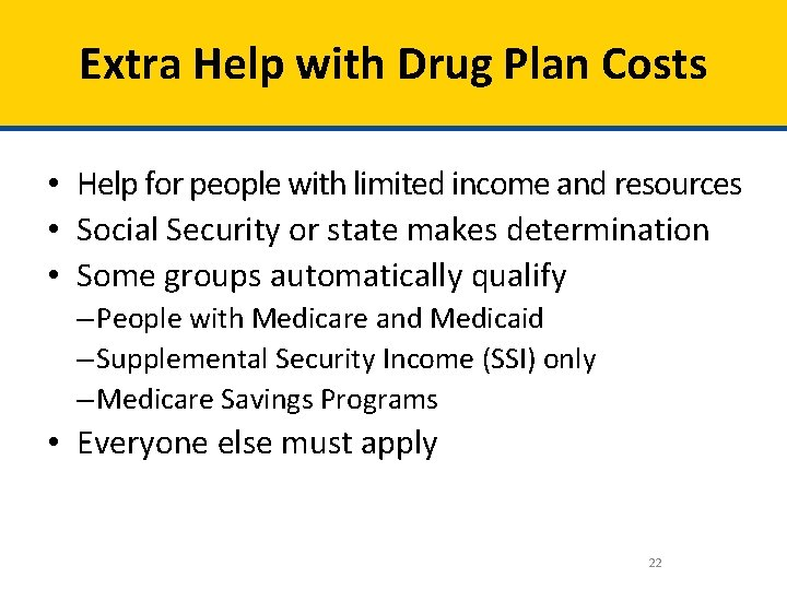 Extra Help with Drug Plan Costs • Help for people with limited income and