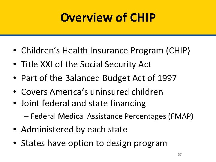 Overview of CHIP • • • Children's Health Insurance Program (CHIP) Title XXI of