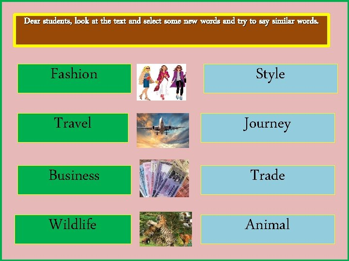 Dear students, look at the text and select some new words and try to