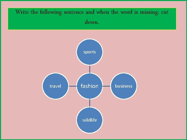 Write the following sentence and when the word is missing, cut down. sports travel