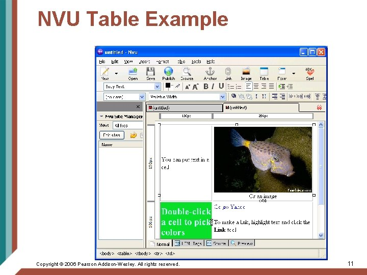 NVU Table Example Copyright © 2006 Pearson Addison-Wesley. All rights reserved. 11