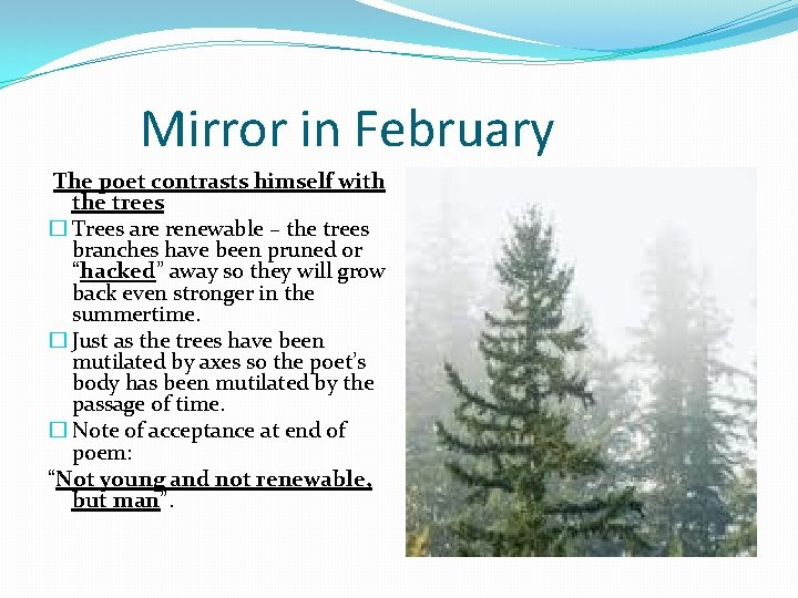 Mirror in February The poet contrasts himself with the trees � Trees are renewable