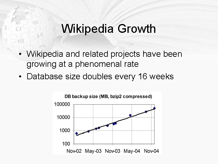 Wikipedia Growth • Wikipedia and related projects have been growing at a phenomenal rate