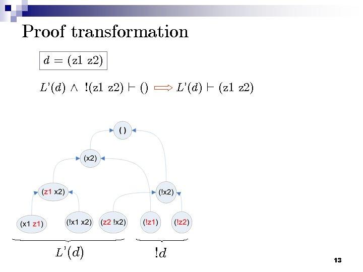 Proof transformation d = (z 1 z 2) L'(d) ^ !(z 1 z 2)