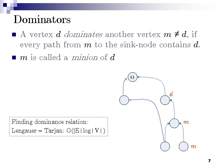 Dominators n n A vertex d dominates another vertex m ≠ d, if every