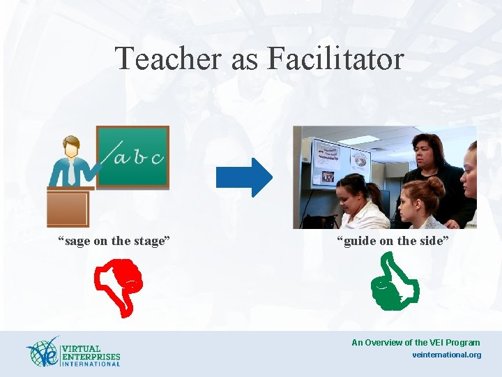 """Teacher as Facilitator """"sage on the stage"""" D """"guide on the side"""" C An"""