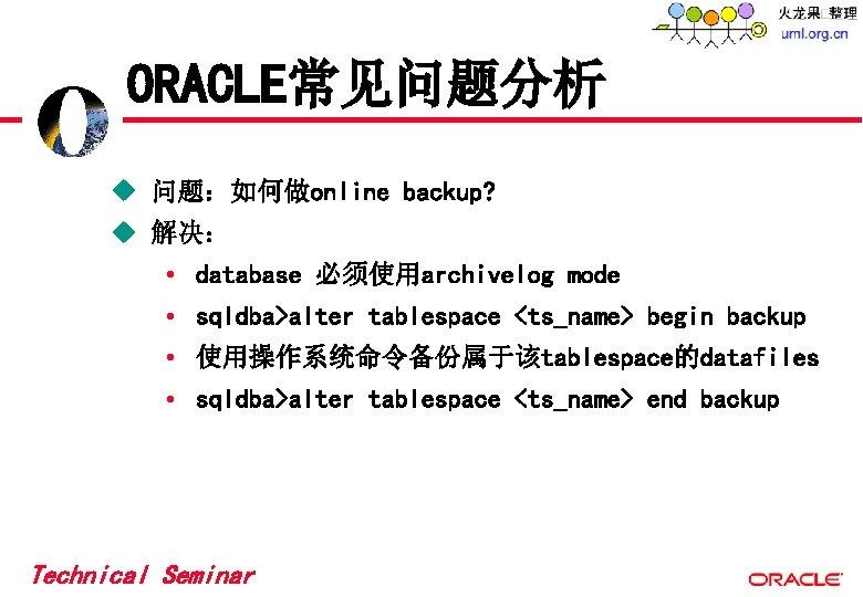 ORACLE常见问题分析 u 问题:如何做online backup? u 解决: • database 必须使用archivelog mode • sqldba>alter tablespace <ts_name>